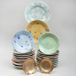 Group of Lyn Evans Glazed Porcelain Plates