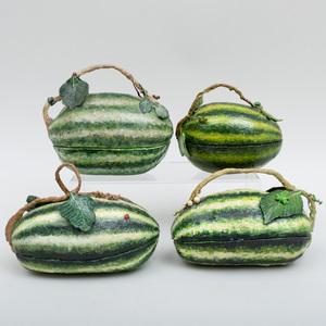 Group of Four Papier Mache Watermelon Form Boxes