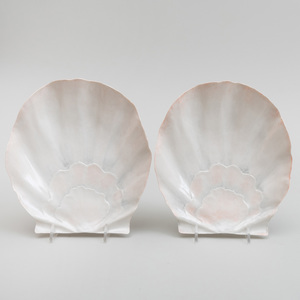 Two Vladimir Porcelain Shell Shaped Dishes