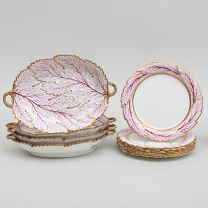 English Pearlware Plates and Serving Dishes in an Iron Red Leaf Pattern, Probably Davenport
