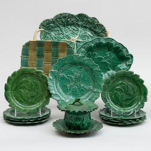 Group of Green Majolica Wares