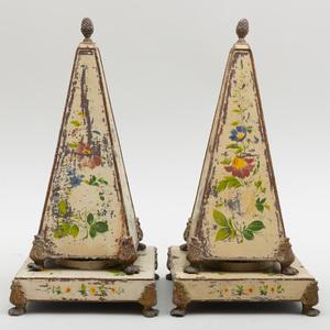 Pair of Floral Cream Painted Tôle Obelisks