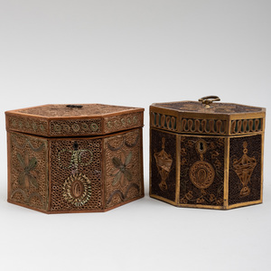 Two English Polychrome and Gilt Roll Paper Tea Caddies