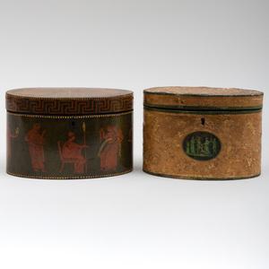 Two English Regency Neoclassical Oval Tea Caddies
