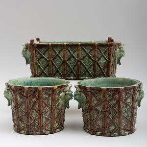 Three Majolica Bamboo Trellis Jardinieres