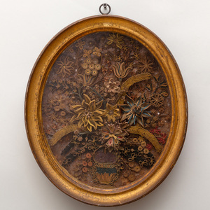 Regency Painted and Gilt Decorated Rolled Paper and Mica Still Life