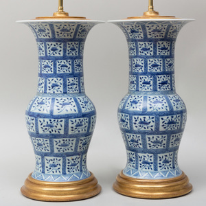 Pair of Chinese Export Porcelain Blue and White Vases Mounted as Lamps