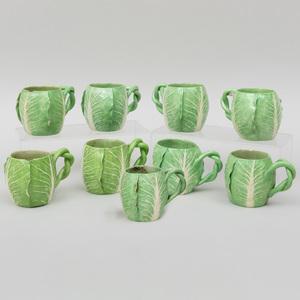 Group of Nine Dodie Thayer Porcelain Lettuce Form Mugs