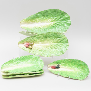 Group of Seven Continental Leaf Form Porcelain Dishes