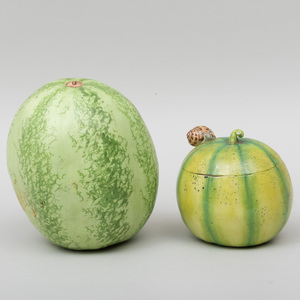 Mary Kirk Kelly Porcelain Model of a Melon and a Melon Form Box and Cover