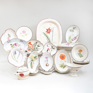 Assembled English Creamware Botanical and Flower Decorated Part Service