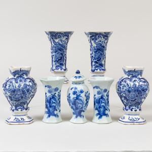 Assembled Miniature Seven-Piece Dutch Delft Garniture