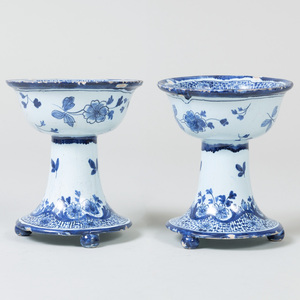 Pair of Dutch Blue and White Delft Stem Cups
