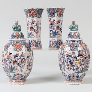Dutch Polychrome Four Piece Garniture