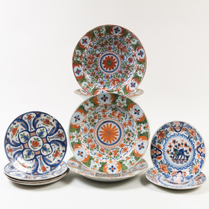 Group of Ten Dutch Delft Polychrome Plates and Chargers