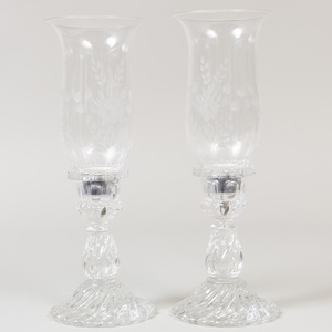 Pair of St. Louis Molded Glass Candlesticks with Etched Glass Photophore Shades