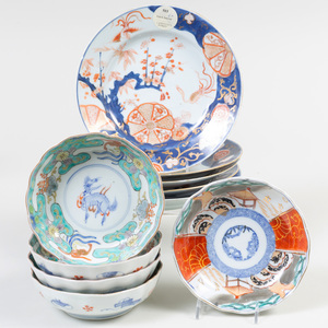 Group of Chinese Imari Porcelain Plates and Bowls