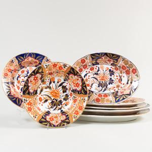 Group of English Porcelain Serving Wares in an 'Imari' Pattern