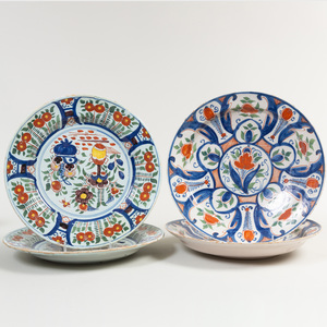 Two Pairs of Polychrome Delft Chargers