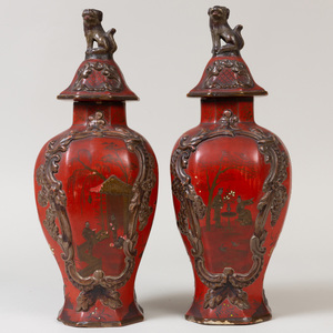 Pair of Delft Style Lacquered Pottery Red Ground Jars and Covers