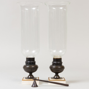 Pair of Glass Photophores with Bronze Bases