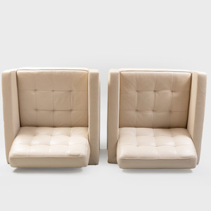 Pair of Florence Knoll Square Leather Club Chairs on Brass Legs