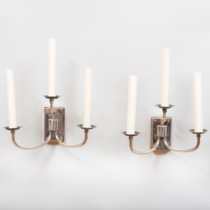 Pair of Austrian Silver Plate Three-Light Sconces
