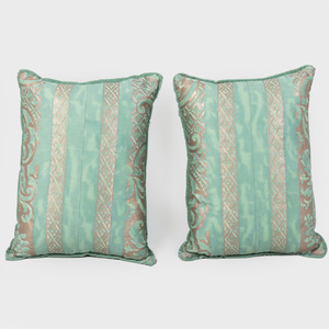 Pair Aqua Green Fortuny Pillows
