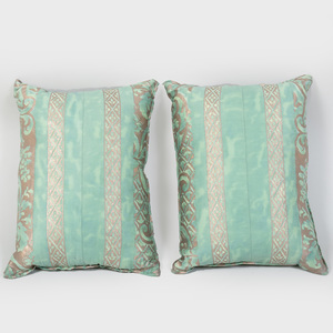 Pair of Aqua Green Fortuny Pillows
