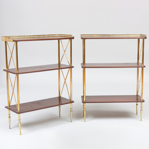 Pair of French Brass and Mahogany Three Tier Étagères, Attributed to Maison Jansen