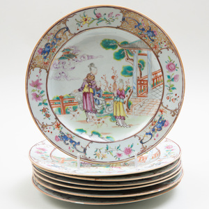 Set of Seven Chinese Export Porcelain Famille Rose Plates