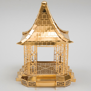Tiffany & Co. Silver-Gilt Pagoda Form Table Decoration