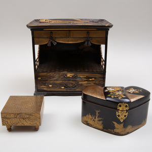 Japanese Lacquer Table Shrine and Two Boxes