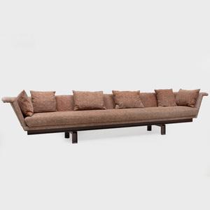 Upholstered Gondola Style Sofa with Steel Base