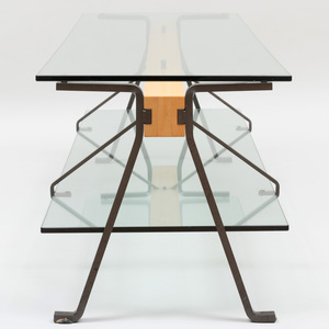 Fratello Steel-Mounted Glass and Wood Low Table