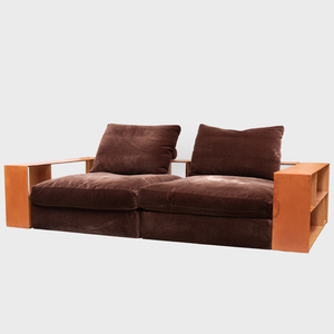 Flexform Leather and Mohair 'Groundpiece' Sofa, Designed by Antonio Citterio