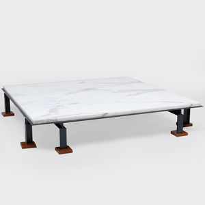 Modern Metal and Marble Square Top Low Coffee Table
