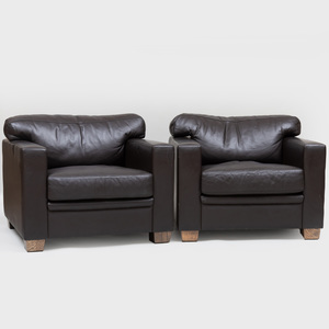 Pair of Ecart International Leather Club Chairs, Designed by Jean-Michel Frank and Adolphe Chanaux