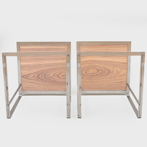 Pair of Steel and Pressed Wood Side Tables