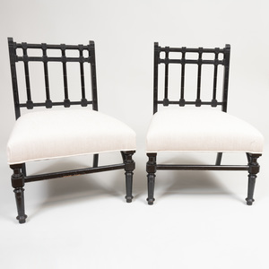 Pair of Aesthetic Movement Ebonized Wood Slipper Chairs