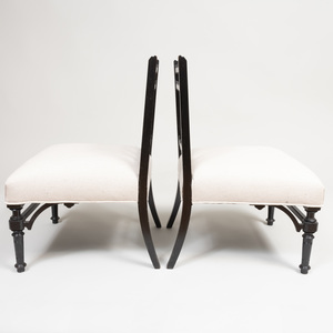 Pair of Aesthetic Movement Ebonized Wood Slipper Chairs