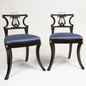 Pair of Regency Style Brass-Mounted and Ebonized Side Chairs