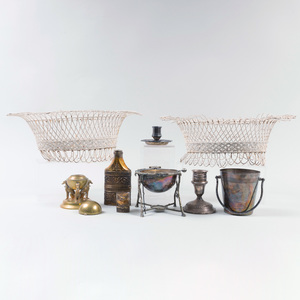 Apsrey & Co. Silver-Gilt Bottle Case, a Christofle Silver Plate Candlestick, and a Pair of Wirework Baskets