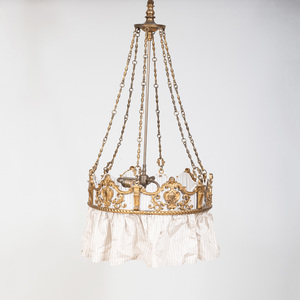 Neoclassical Style Gilt-Metal Three Light Chandelier