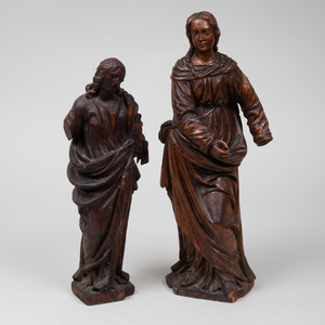 Two Continental Carved Boxwood Figures of Saints