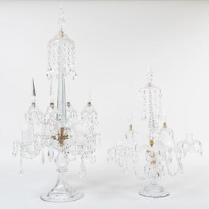 Two English Cut Glass Candelabra