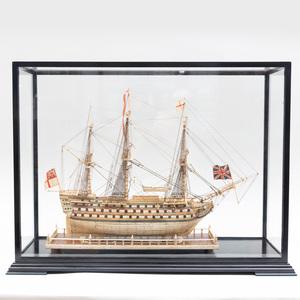 Fine French Prisoner-of-War Carved Bone Ship Model of a 92 Gun Frigate