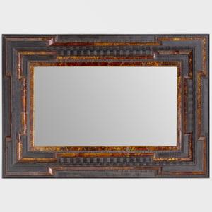 Flemish Baroque Style Faux Tortoiseshell and Ebonized Mirror
