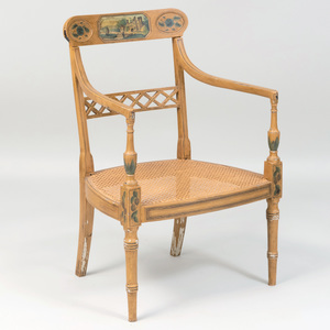 Regency Painted and Caned Arm Chair
