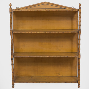 Painted Victorian Faux Bamboo Three-Tiered Hanging Shelf
